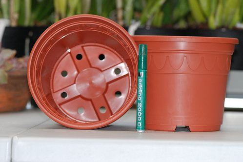 Plastpotte, brun, dekorativ, 17 cm
