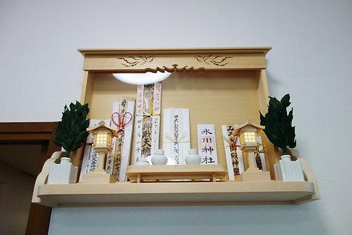 90cm神棚板+特注お札立て(総木曽桧)