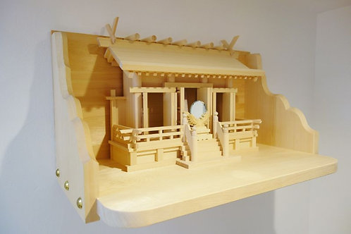 75cm極上神棚板+特注通し屋根三社(総木曽桧)