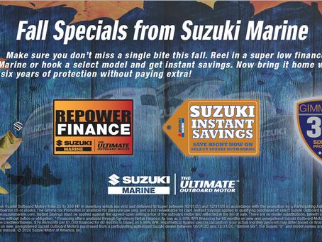 "Suzuki ""Fall Specials"" offered at Anchor Boatworks in Virginia Beach, VA."