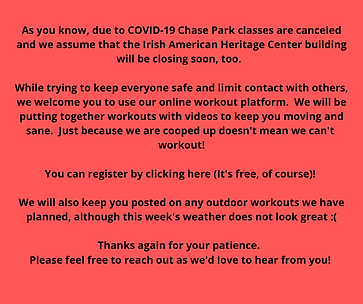 As you know, due to COVID-19 Chase Park