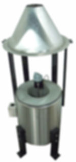 Wenesc100 lb propane gas melter for lead, with air motor stirrer and exhaust hood.