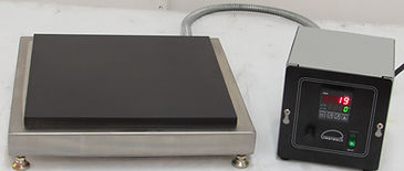 """(Left) Model HP-1212 shown above with optional digital """"RS"""" heat soak thermostat, which is 3ft remote from hot plate."""