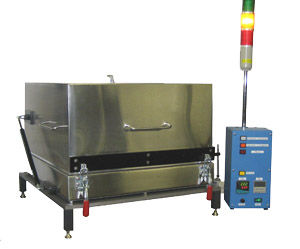 Model HP1818 NV, shown here, has a tall gas-tight hood with nitrogen gas entering from the top. Operations (Nitrogen flow on,off )( Heat on,off) (Hood up,down) , are controlled with an optional timer. The optional light tower displays activation of these functions.     The polished stainless steel plate is 18 x 18 inches, and  operates at 450C
