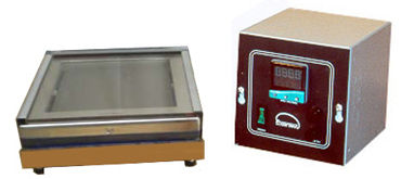 (Above) Model HP66 hot plate with 6x6 anodized aluminum surface, fitted with a removable hood and transparent glass lid, which slides away easily for access to the heated object Temperature is controlled with a remote digital thermostat that displays current temperature and set point. This style is available up to a 24 x 24-inch plate size