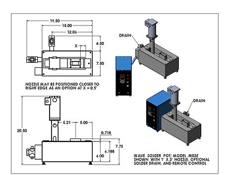 (Right/Left) Model M3 shown with standard remote control and optional nitrogen inerting system. The round nozzle adapter, as shown here, is made for our quick-change nozzles..