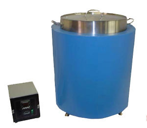 (Above) Wenesco's MU series Multi-Melters can be used to melt separate batches of product using a main melter with interchangeable pots.  The main melter nests the pot just over a convection heater, which is controlled with a remote digital thermostat. The pot and contents are easily removed from the main melter. Our Multi Melters include two stainless steel pots with handles.