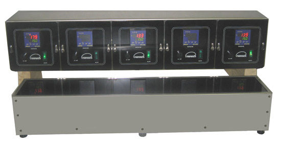(Below) Model HPZ5 with 5 separate heating zones under a single hi-temp glass plate. Each zone is independently controlled with remote digital thermostats. Wenesco can custom make a multi-zone hot plate to suit your requirements.