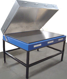 "(Below) Custom made for a prominent American university, with plate temperature uniform to 3 deg C over a 40"" x 60"" surface.  Features an insulated, counter-balanced hood."