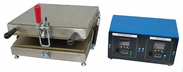 (Left) Wenesco Model HP10922 Portable Die Plate Preheater is based on the original PROBAG  preheater. It is designed to quickly mount to an extruder die face prior to the extrusion process. The plate is 11 inches (280 mm) diameter anodized aluminum, 1 inch thick. The fully insulated  housing is made from stainless steel with perforated walls.  Power: 3300 watts @ 240V, 13.75 amps The standard line cord is 60 inch (1524 mm) long. Temperature is controlled at 550F with an adjustable analog thermostat.  The dual floating spring mounting bolts have hand fastening knobs. These bolts are 180 degrees apart.  Overall Dimensions: 14 in (355mm) diameter x 8.77 in (223mm) high, including handle and bolts. Heavy duty handles are mounted on the top and side.