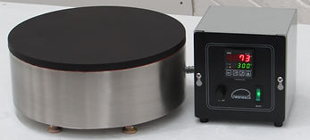 (Left) Model HP12 round hot plate shown w/ optional digital thermostat control.