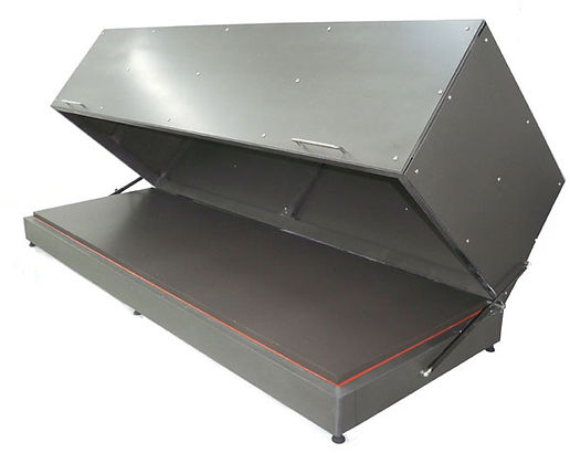 (Below) Model HP1224 corrosion-resistant hot plate  shown with a custom-made fume exhaust hood.