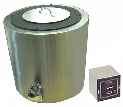 Model MS 250 shown with drain valve, pot cover, and remote thermostat.