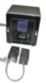 (Above) Heated Clamp shown with remote digital thermostat.  May be powered with air cylinders to clamp heated Teflon surfaces around any rope-like circular object for bonding or sealing.