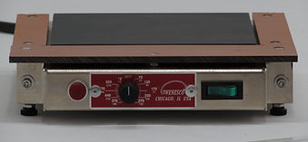 (Left) Models HP66M, HP99M, and HP1212M feature an anodized aluminum plate controlled with an 0-575F thermostat. They come complete with a 120V line cord, fuse, and illuminated on-off switch. These hot plates are only 1.5in high and include insulated finger rests on 3 sides.