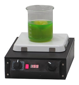 (Above) Model HPSTR771 Basic hot plate Plate size 7x7 in Overall size 15x9x6 in 1070 watts   120V Stirring speed control Built in Temperature control includes a potentiometer for adjustment of hot plate temperature, with digital display. Fully washdown.
