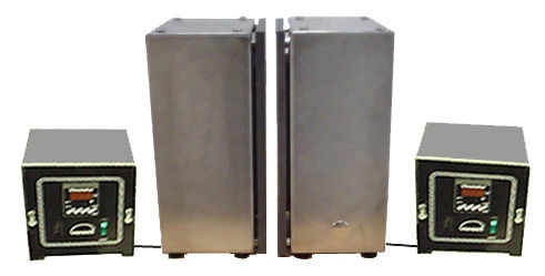 "(Above) ""Book end hotplates"" shown on end, face to face, to heat an object from two sides. The plates are 8 in. wide by 16 in. high, and are controlled with twin remote digital thermostats. This configuration is available in many sizes.                   These plates may be purchased individually or as a pair."