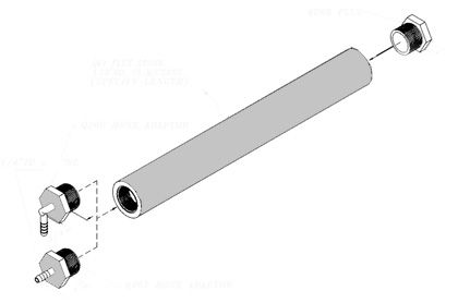"""(Above) Flux Stones are made from micro-porous plastic tubing.  When pressurized, they create a foam """"head"""" composed of tiny air bubbles.  Replacement stones for existing foam fluxers are cut to size and fittings are attached.  Please call for a quote.    (Below) Flux stone assembly with special fittings to fit some ELECTROVERT foam fluxers."""