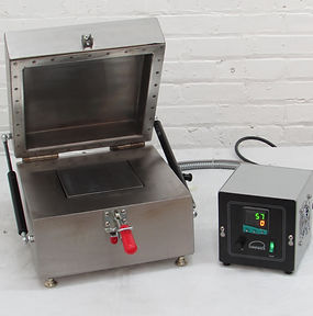 "(Below) Model HP66YX with stainless steel plate and ""RS"" remote thermostat control for operation up to 1,292F (700C). Temperature capability increases to 1500F (815C) with optional insulated hood"