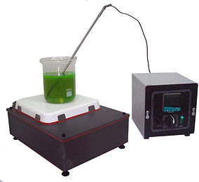 (Above) Model HPSTR773 Basic hot plate Plate size 7x7 in Overall size 15x9x6 in 1070 watts   120V Stirring speed control Remote temperature control includes a digital thermostat with display, which controls the temperature of the fluid in the beaker. Control box is 6x6x6 inches Remote control is not made for washdown*