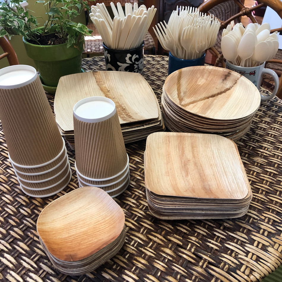 100% biodegradable plates, cups, and utensils.