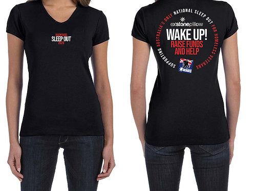 Black Cotton T / Shirt - Womens