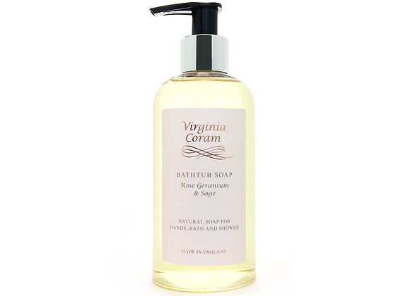 BATHTUB NATURAL LIQUID SOAP | ROSE GERANIUM & SAGE