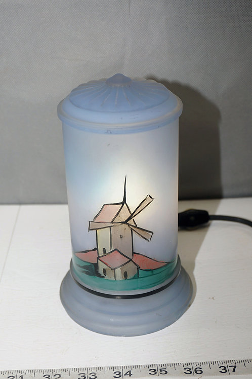 Blue Dresser Lamp With Hand Painted Windmill