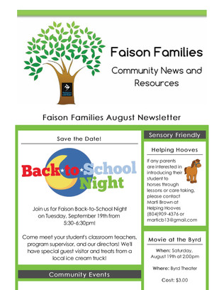 Faison Families August 2017 Newsletter