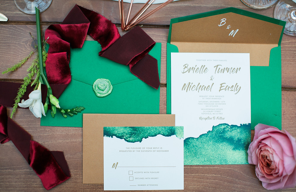 Invitations by Brown Fox Creative and velvet ribbon by Party Crush Studio