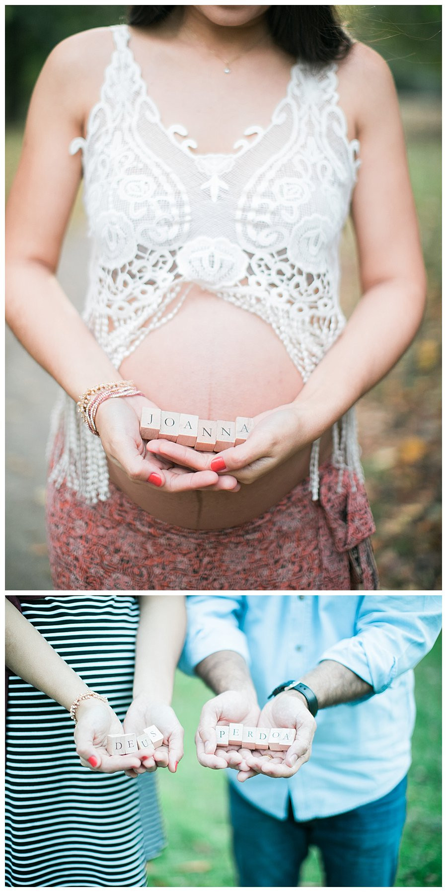 baby name spelled out in blocks for maternity photos