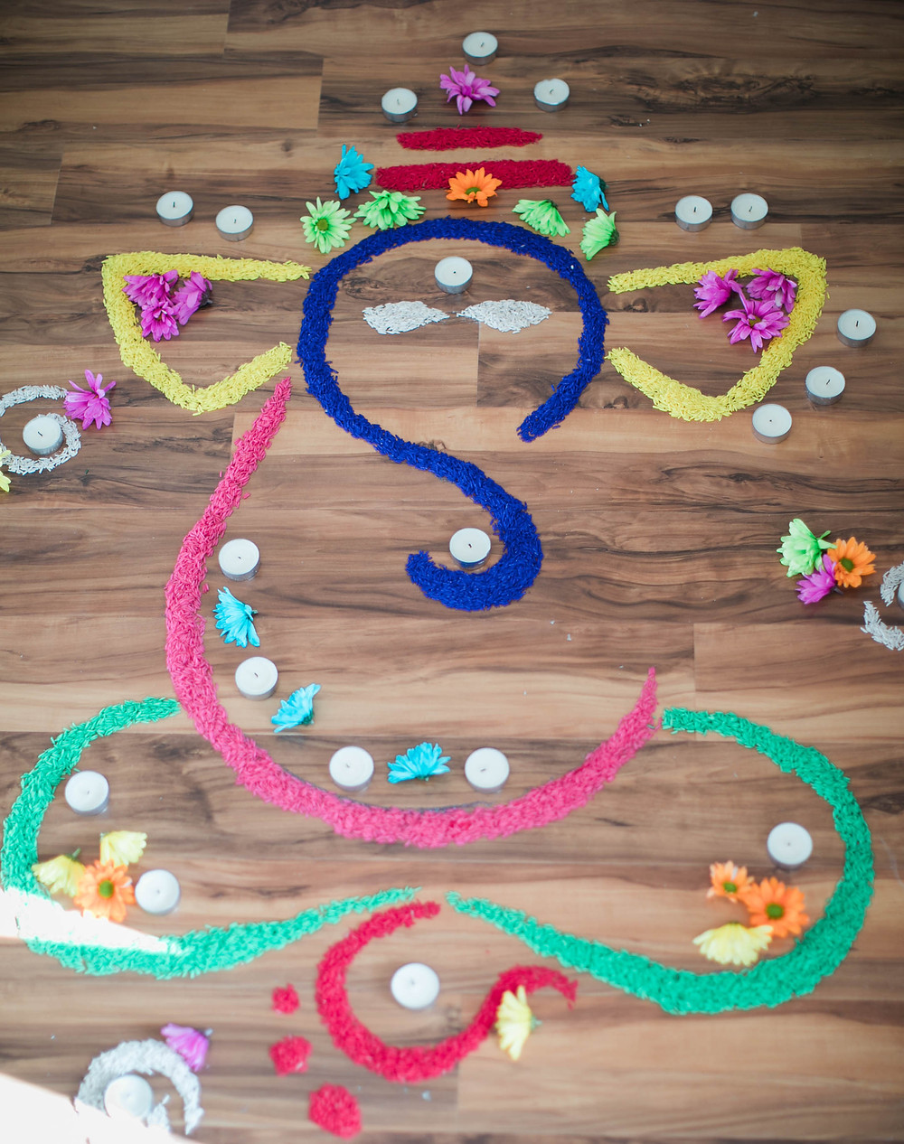 Diwali decoration with colorful rice