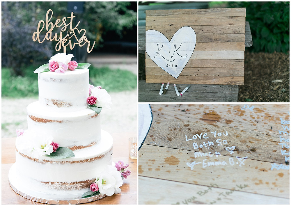 Naked wedding cake, 3 layers with flowers on each layer. Wedding guest signing book ideas, rather than a book, this couple decided to have their guests write on a wooden board with their initials in a heart. Using metallic markers.