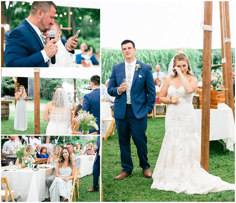 The brother of the groom gives a tear jerking speech, his younger brothers hugs the speaker and they both cry tears of joy. The bride also is emotional and is wiping away her tears. The maid of honor gives a speech and the guests are smiling, listening attentively.