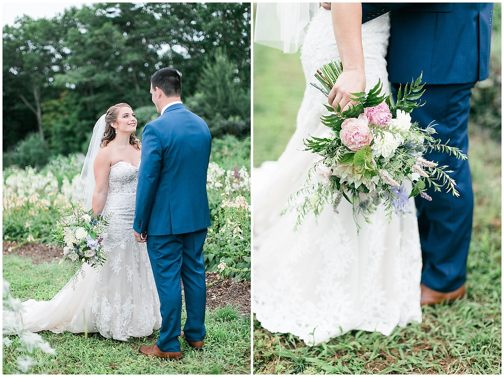 """Soon to be newly weds, meeting for their """"first look"""". The Groom sees his bride for the first time in her wedding gown and bouquet filled with wild flowers and peonies."""