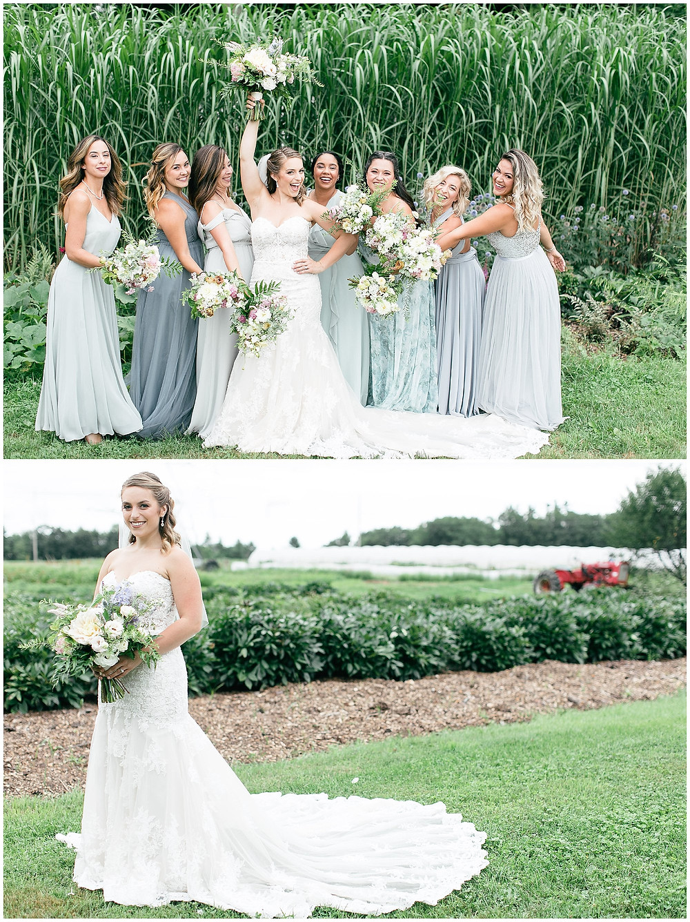 A group picture of the bride and her bridesmaids cheering her own as the raise their bouquets.
