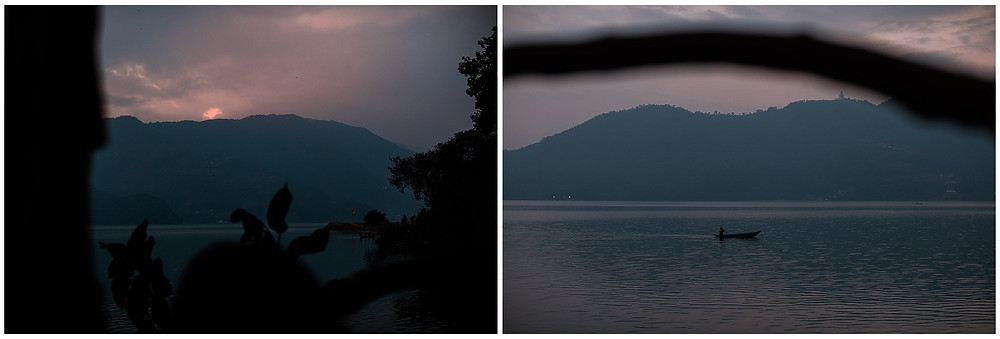 Sunset lake in pokhara