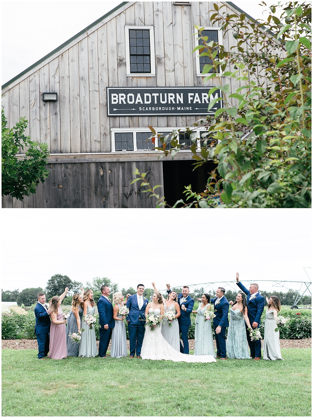 Wedding at Broadturn Farm in Scarborough Maine with the wedding party cheering the soon to be newly weds!