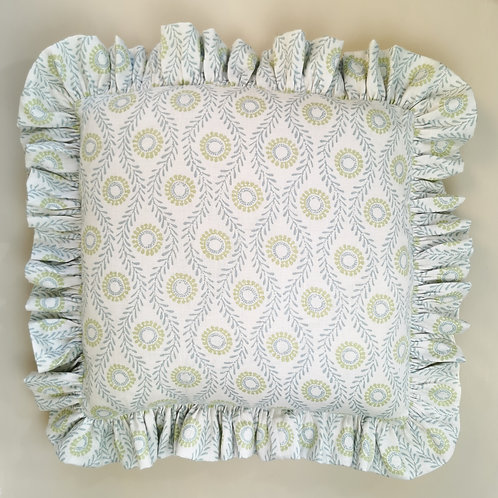 Blue Frilled Cushion