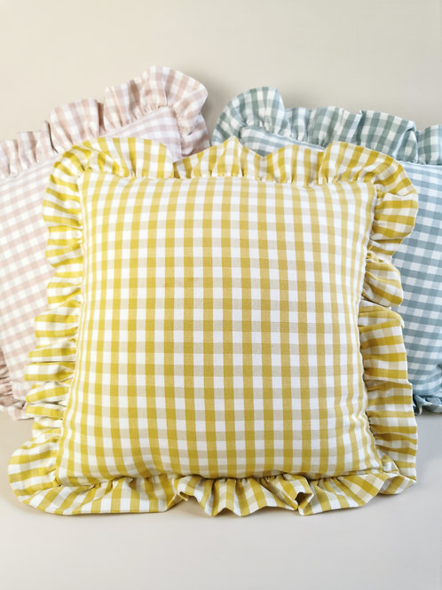 Yellow Check Frilled Cushion