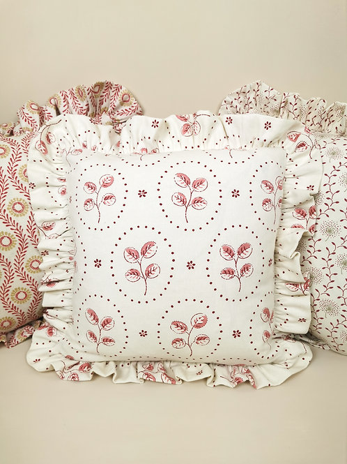 Frilled Cushion in Cream and Pink