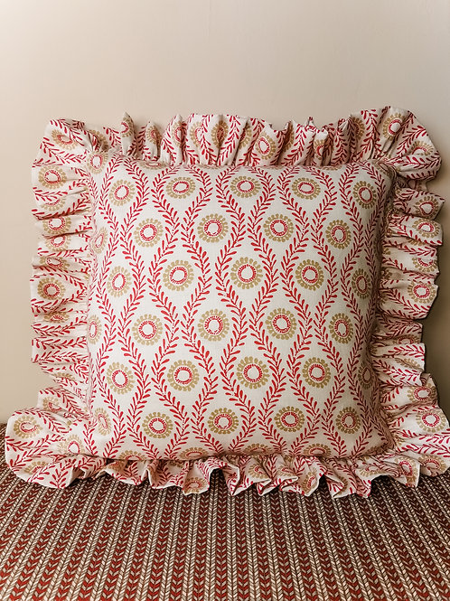 Red Frilled Cushion