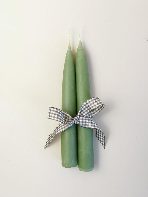 Pair of Green Handmade Candles