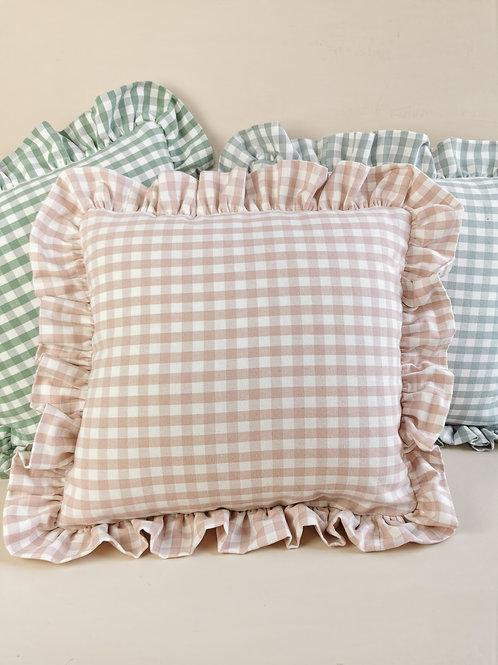 Pink Check Frilled Cushion