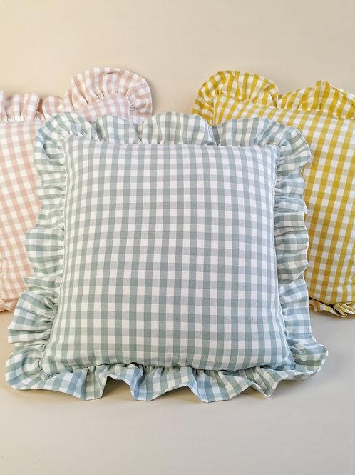 Blue Check Frilled Cushion