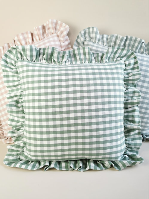 Green Check Frilled Cushion