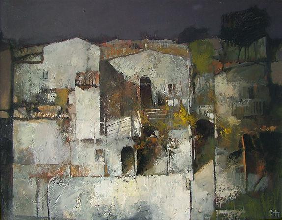 Il borgo misterioso 90x70 Acrilico su tavola Alex Bertaina