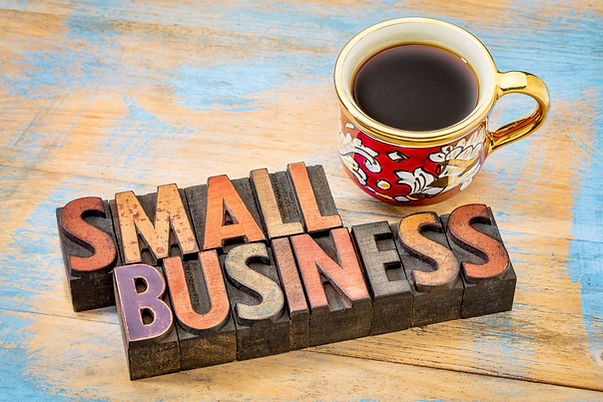 small business sign with a coffee cup