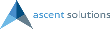 Blue and grey Acent Solutions Logo