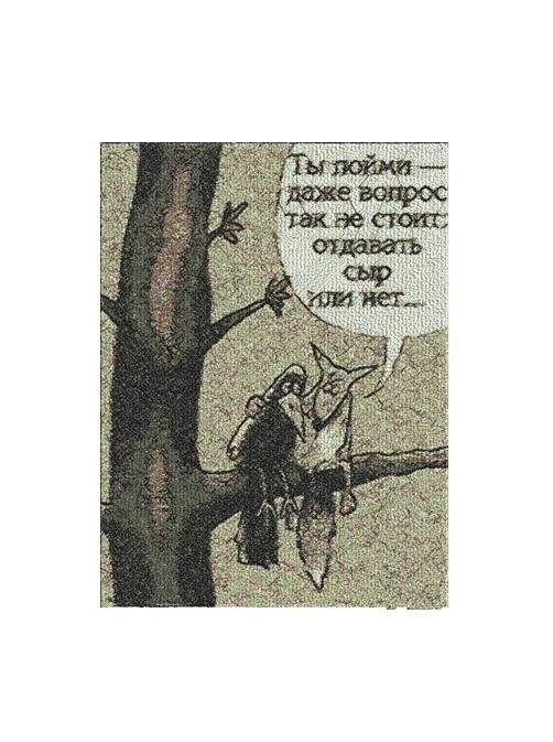 Ворона и лисица  Вышивка